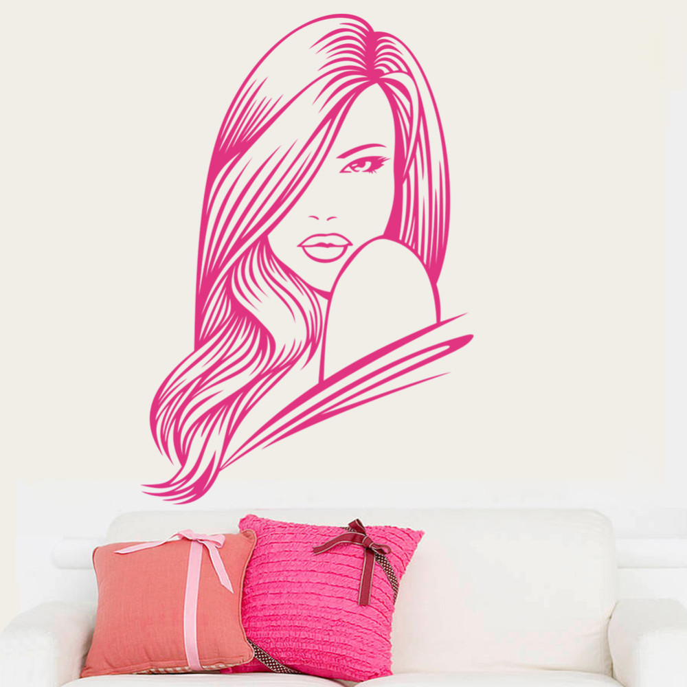 Pink hair salon chairs - Sexy Girl Hair Spa Beauty Salon Wall Stickers Bedroom Vinyl Barbershop Wall Decals Beauty Girls