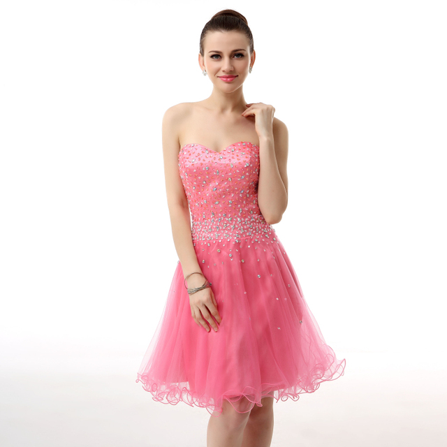 Real semi Coral Homecoming Dress Short Cute Cheap 8th Grade ...