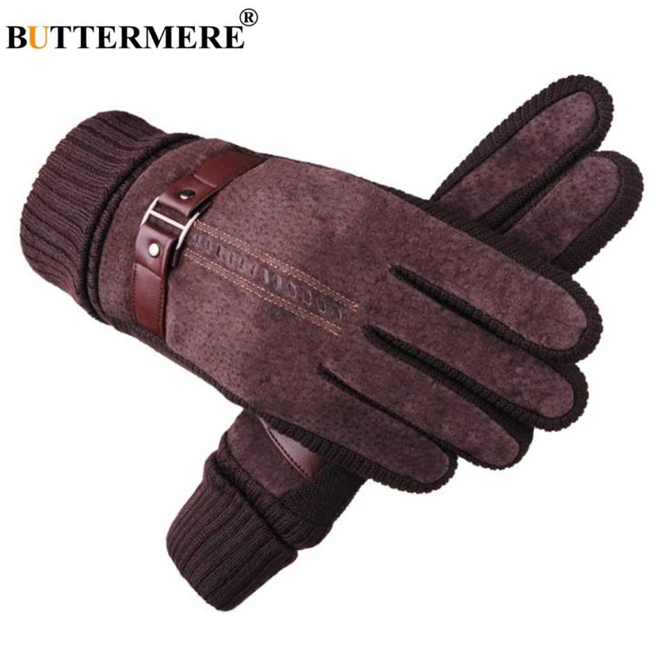 fbccdaad7cda0 ... BUTTERMERE Pigskin Gloves Men Gloves Winter Real Leather Black Brown  Warm Male Gloves Leather Motorcycle For ...