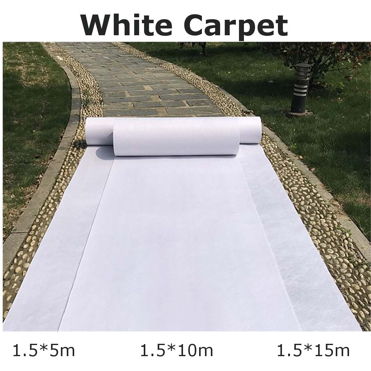 1.5x15/10/5m New Wedding Carpet White Carpet Aisle Runners Party Stage Banquet Celebration Film Festival Event Outddor Decor Mat