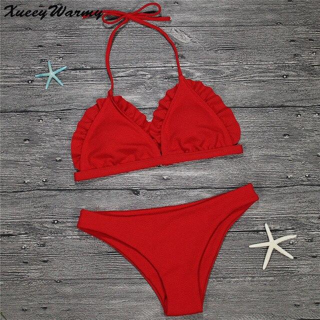 76775a764c Red Bikinis Women 2018 Sexy Bikini Set Push Up Swimwear Female Bandage  Brazilian Bikini Bathing Suit Swimsuit Maillot De Bain