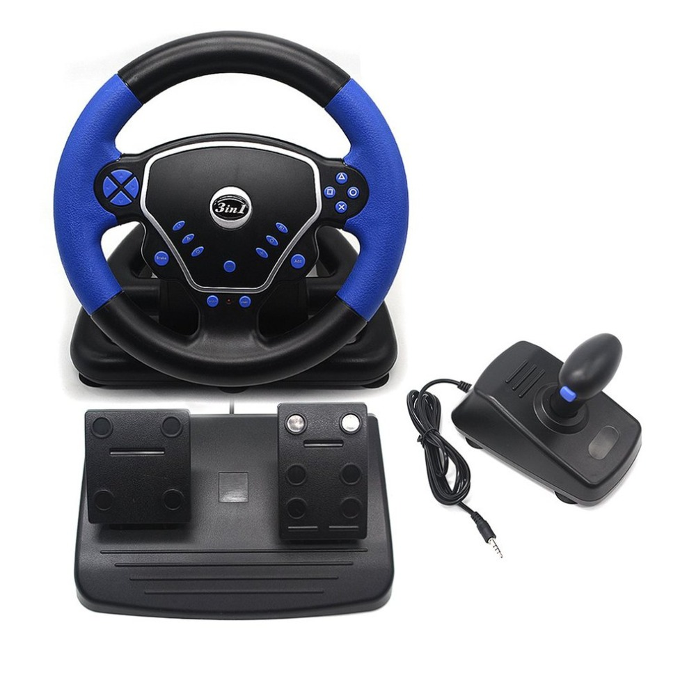 3-in-1 Gaming Vibration Racing Steering Wheel 25cm With Pedals Knob USB Interface Wired Steering Wheel for PS2 PS3 PC