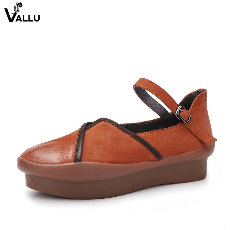 ae296329 Comprar VALLU hebilla Strappy mujeres zapatos planos 2018 hecho a mano Real  cuero de vaca señora pisos nueva llegada mujer ocio Online Baratos