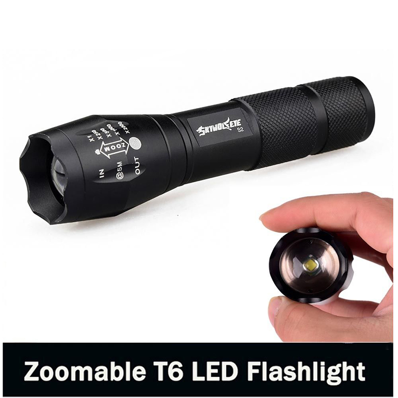 E17 XM-L T6 3800LM Aluminum Waterproof Zoomable LED Flashlight Torch light for 18650 Rechargeable Battery or AAA 2018