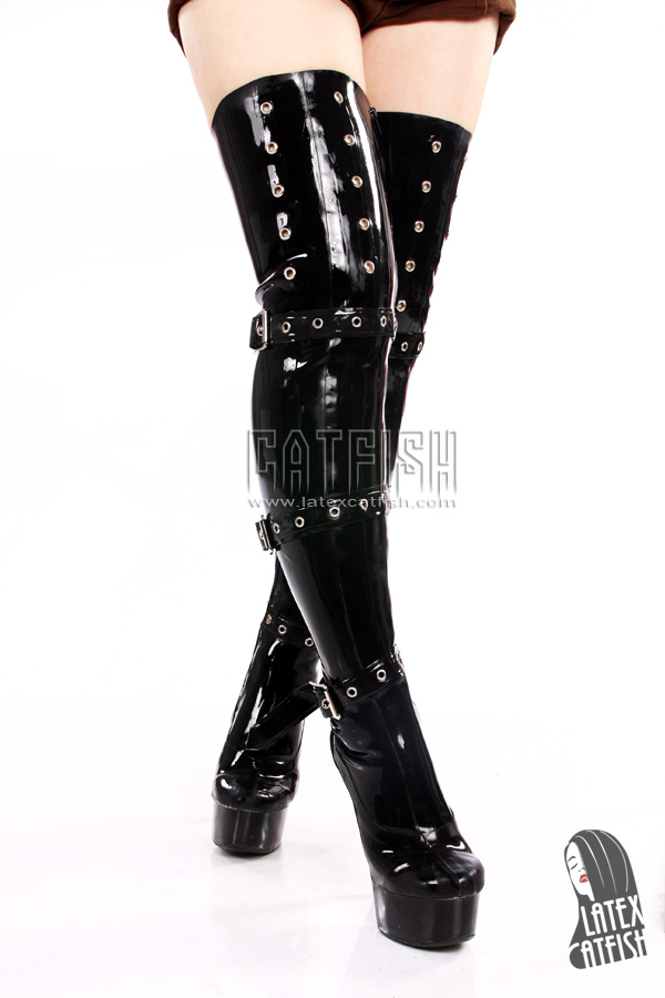 High heel platform latex thigh high boots,rubber boots for cross ...