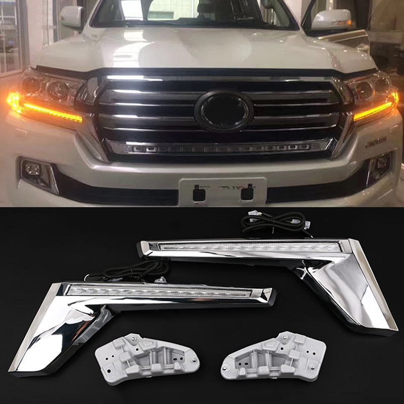 Yellow LED Turn Signal Flash Light Kit For Toyota Land Cruiser FJ200 LC200 2016-2018 Chrome Front Grille Lamp Trunning lightYellow LED Turn Signal Flash Light Kit For Toyota Land Cruiser FJ200 LC200 2016-2018 Chrome Front Grille Lamp Trunning light