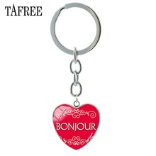 TAFREE French BONJOUR Keychains Heart Shape Fashion Unique Key Chain Keyrings Gifts For Car Keys Birthday Gift Men Jewelry BJ04(China)