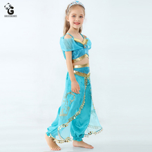 Girls Dress Jasmine Costume Kids Belly Dancer Aladdin Lamp Princess For Girl Halloween for