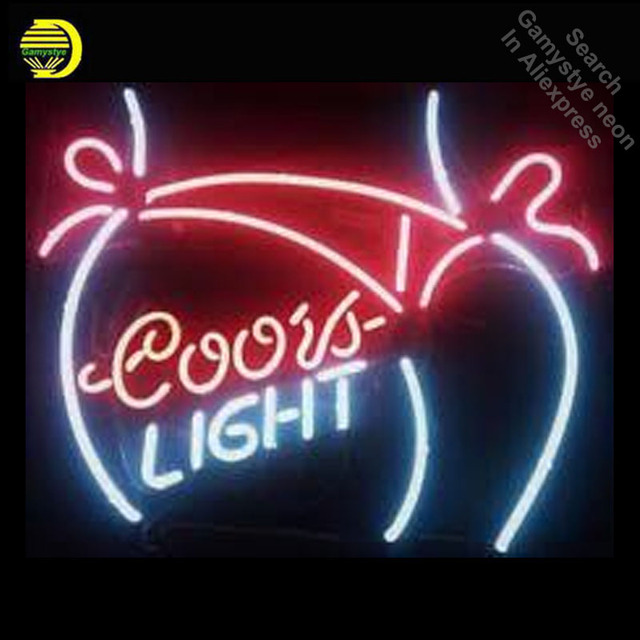 NEON SIGN for New Coors Light Bikini Girl GLASS Tube Light Sign Store Display Handcraft Design Iconic Sign Beer Bar Pub Signs