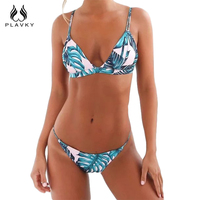 PLAVKY 2017 Sexy White Leaf Floral Biquini Strappy Swim Wear Bathing Suit Swimsuit Thong Biquine Swimwear