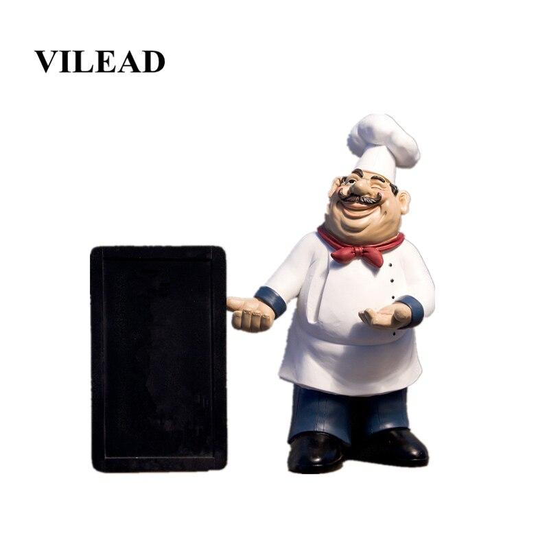 VILEAD 40 cm résine tableau noir Chef Figurines Message européen artisanat créatif ornements caisse Restaurant décorations