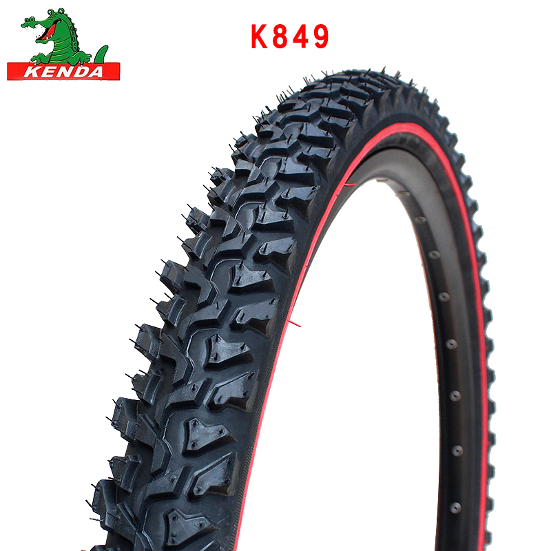 KENDA mountain bike tire K849 Steel wire <font><b>24</b></font> 26 inches <font><b>24</b></font>*<font><b>1.95</b></font> 26*<font><b>1.95</b></font> 2.1 Black tire red line cross-country bicycle tires parts image