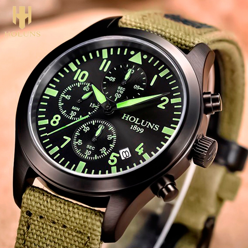 HOLUNS Mens Watches Relojes Hombre Luminous Watches 2018 New Date Day Police Green Nylon Fabric Strap Quartz Watches Chronograph
