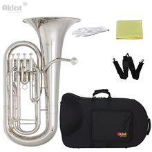 Aklot Bb Euphonium 4 Valve Silver Plated Mouthpiece Nickel Plated Brass Body with Case