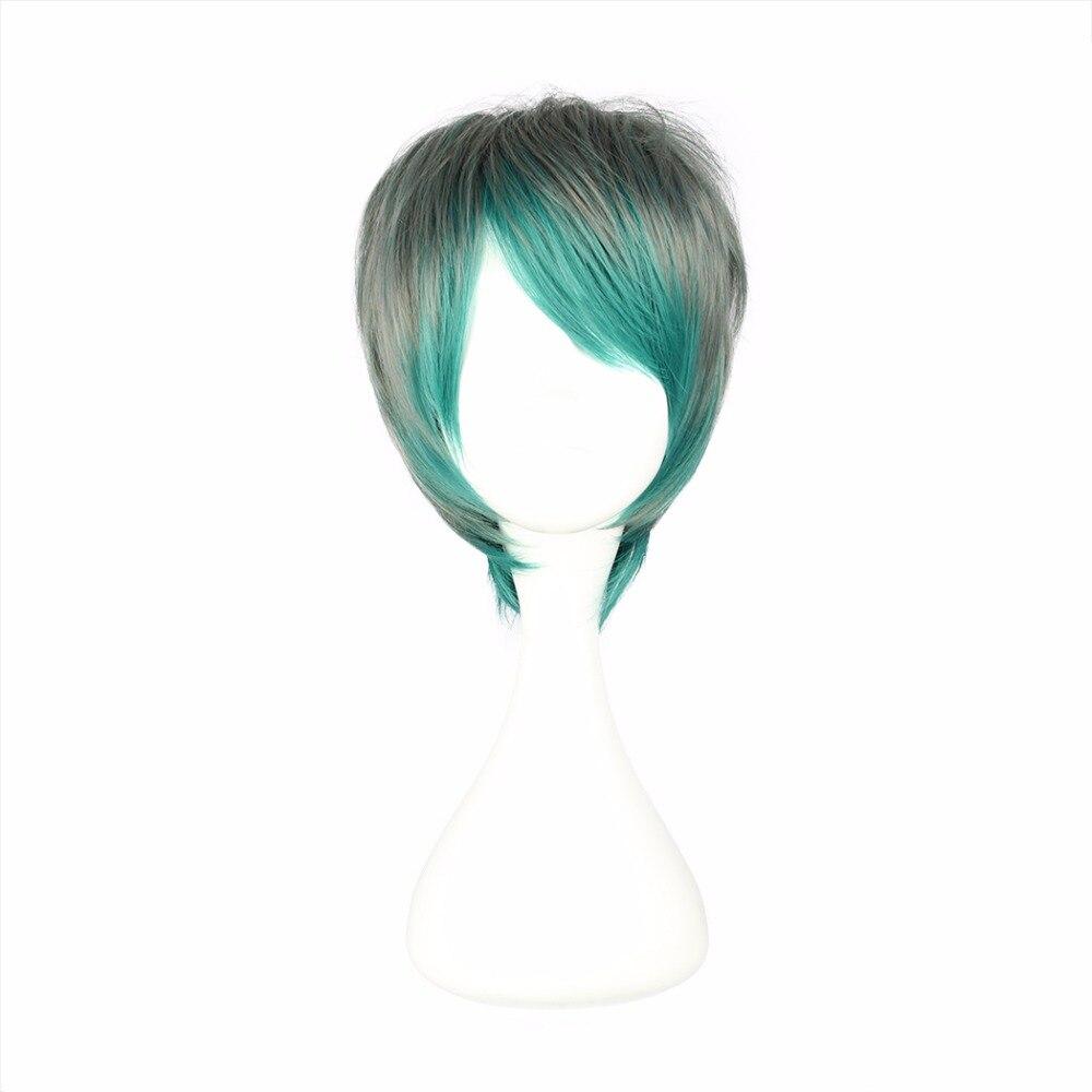 Synthetische Keine Spitze Perücken Mcoser 32 Cm Kurz Grün Farbe Mixed Synthetische Einstellbare Cosplay Perücke 100% Hochtemperaturfaser Wig-355a Senility VerzöGern Haarverlängerung Und Perücken