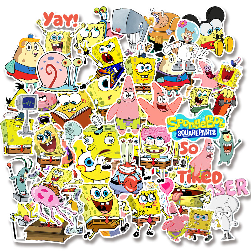 Image 5 - 50pcs/pack Cartoon SpongeBob SquarePants Sticker Waterproof For Mobile Phone Car Moto Laptop Luggage Bicycle Skateboard Decal-in Stickers from Toys & Hobbies