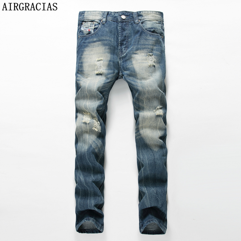 AIRGRACIAS Classic Denim Mens Jean Ripped Jeans For Men Casual Long Pants Trousers High Quality Biker Jeans Plus Size 28-42 airgracias elasticity jeans men high quality brand denim cotton biker jean regular fit pants trousers size 28 42 black blue