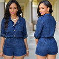 Novelty fashion 2016 women brand half sleeve casual jumpsuit rompers women denim jumpsuit elegant sexy bodysuit