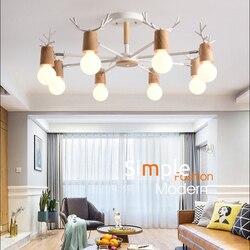 Plafonnier en bois et métal à multiples têtes au design nordique moderne et minimaliste, luminaire décoratif d'intérieur, idéal pour un restaurant, une chambre à coucher ou un bureau, E27