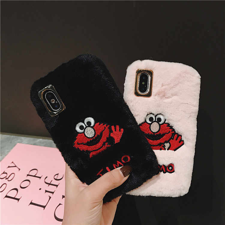 Cute Cartoon Sesame Street Cookie Elmo Winter Warm Plush Phone Case For  iPhone 6 6 Puls 6S 7 8 Puls X XS Max XR Cases Soft Cover