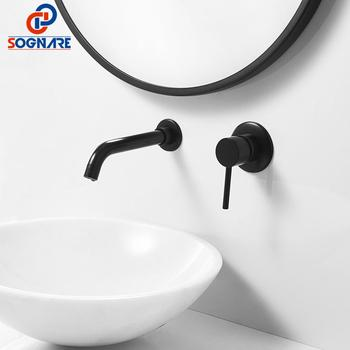 SOGNARE Black Brass Bathroom Sink Faucet Water Taps Wall Mounted Single Handle Cold And Hot Water Mixer Sink Tap Bath Faucet sognare basin bathroom faucet pull out gold black bath sink crane copper sink mixer taps hot and cold deck mounted wash faucet