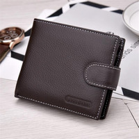 High Quality Genuine Cow Leather Simple Design Coffee Black Men S Mini Wallet European And American