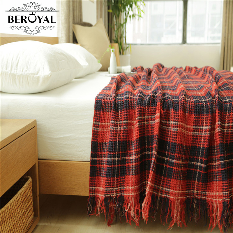 New 2017 Throw Blanket --1PC 100% Cotton Knitted Blanket  Waffle Plaid  Adult Blanket Spring/Autumn Sofa Conditon Blanket new 2017 throw blanket 1piece 150 200cm 100