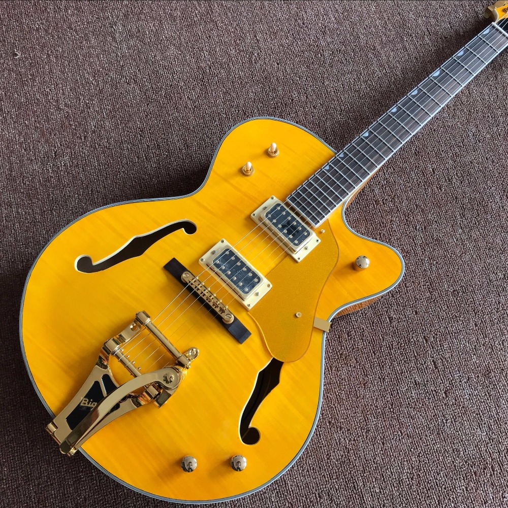 Factory Custom Shop yellow Hollow Body Electric Guitar factory direct ...