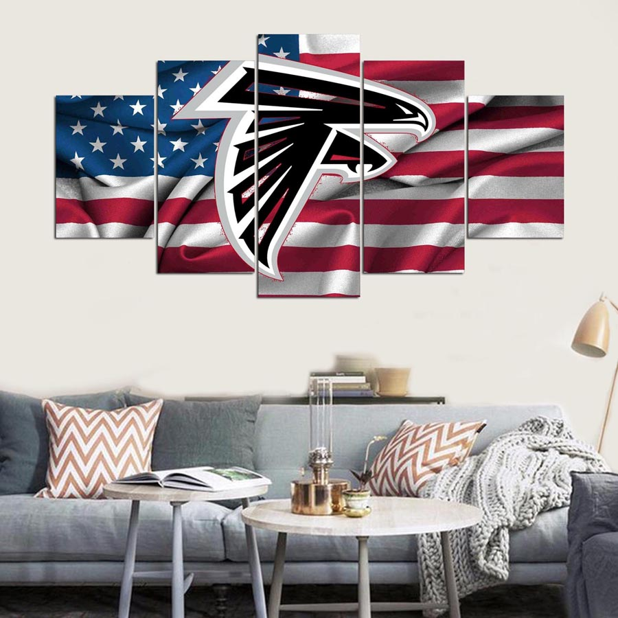 5 panel moderna hd atlanta falcons bandera americana print Art ...