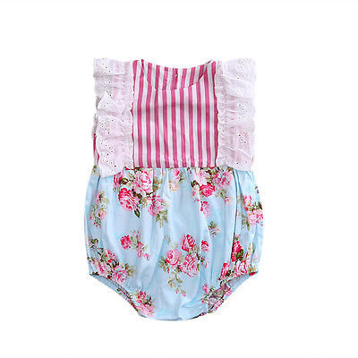 Newborn Baby Girls Lace Floral Ruffles Romper Sleeveless Patchwork Princess Romper Girls Summer Romper Jumpsuit Clothes Outfits