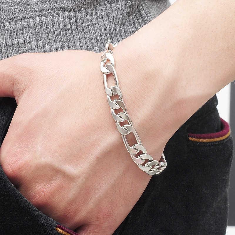 Europeu & American Style Moda Tom de Prata Pulseira Elo Da Cadeia dos homens Hiphop Legal pulseira masculina