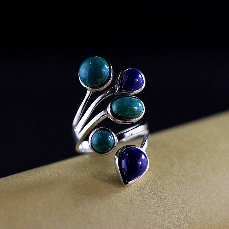 S925 bijoux en argent mode élégante dame Phoenix pierre collocation Lapis anneau