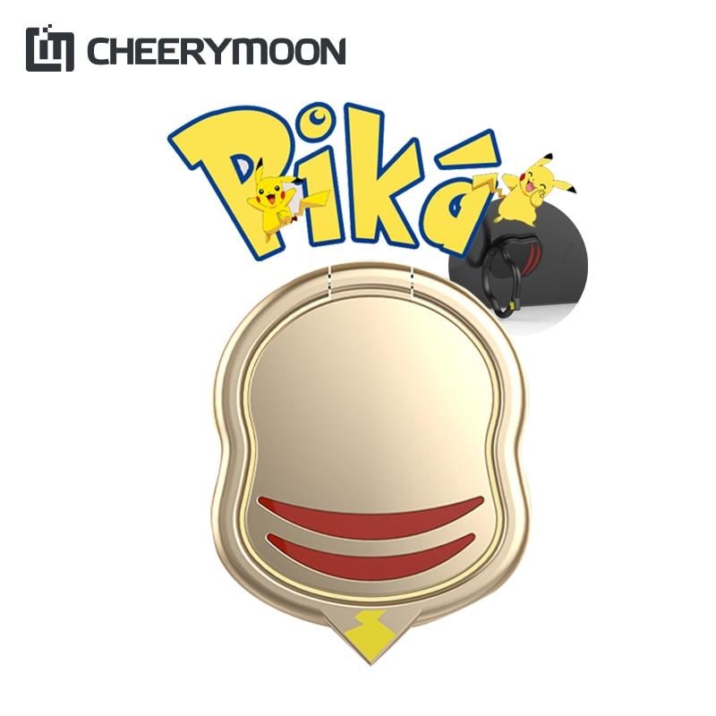 CHEERYMOON Pikachu Ring 1st Holder 360 Degree Metal Finger Grip For Universal Mobile Phone Stand Magnetic Car Bracket
