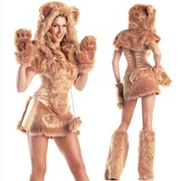 Womens Deluxe Furry Teddy Bear Costume Sexy Ladies Brown Animal Dress With Leg Warmers Outfit Adult