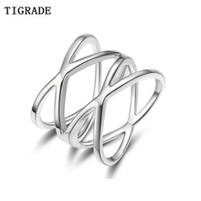 TIGRADE 100% 925 Sterling Silver Ring Double Cross Wedding Band Classic Multi Layer Women Rings Finger Jewelry Anelli недорого