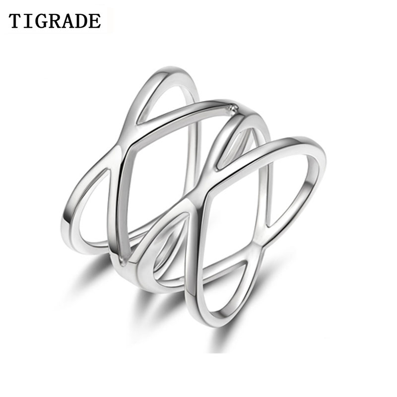 TIGRADE 100% 925 Sterling Silver Ring Double Cross Wedding Band Classic Multi Layer Women Rings Finger Jewelry Anelli
