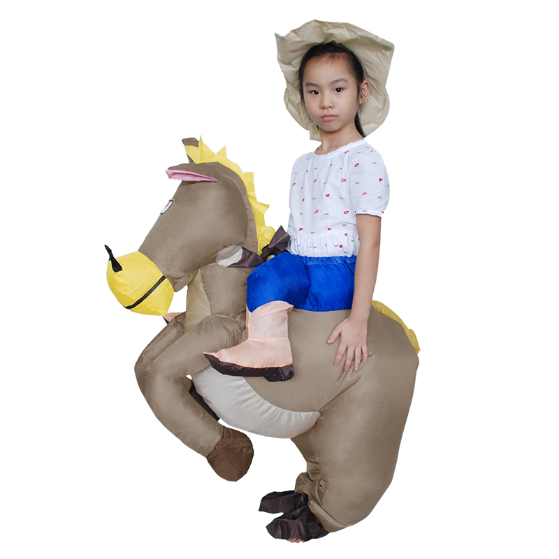 2017 Children Gift Animal Cosplay Inflatable Cowboy Ride Horse Children's Day Party Dress Halloween Costume for Kids