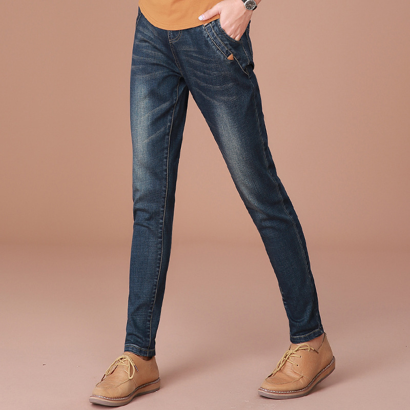 ФОТО 2017 New Fashion Spring Summer Women Skinny Harem Jeans Denim Elastic Pants Blue Good Quality Loose Jean Pants E874