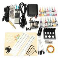 Complete Tattoo Machine Power Supply Cord Ink Handle Needle Practice Skin Set