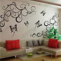 DIY butterfly fantasy vine black wall stickers removable sitting room bedroom wall stickers decoration art