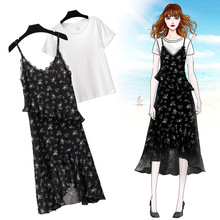 ICHOIX floral long dress 2 pieces sets women summer clothing 2019 ruffles chiffon two outfits casual beach dresses