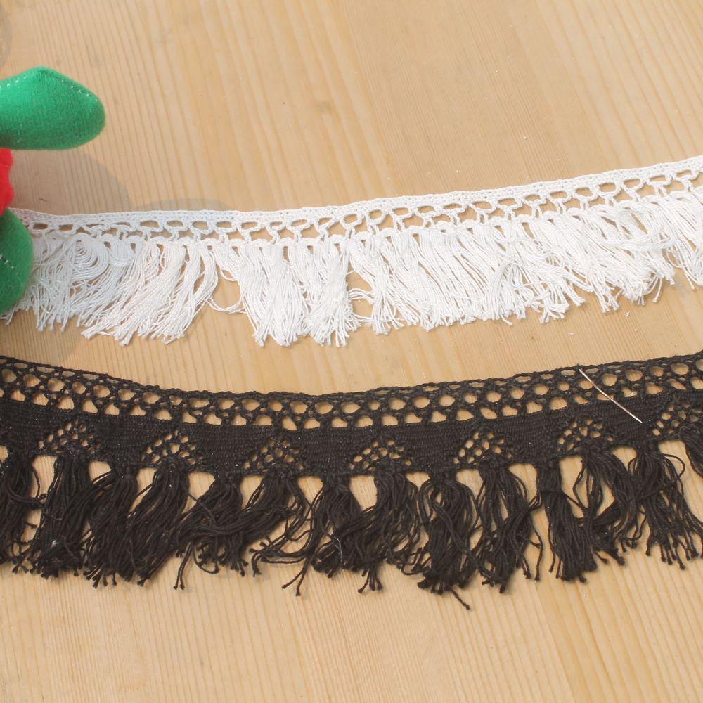 15yds Lot White Black Crochet Cotton Lace Trim Tassel
