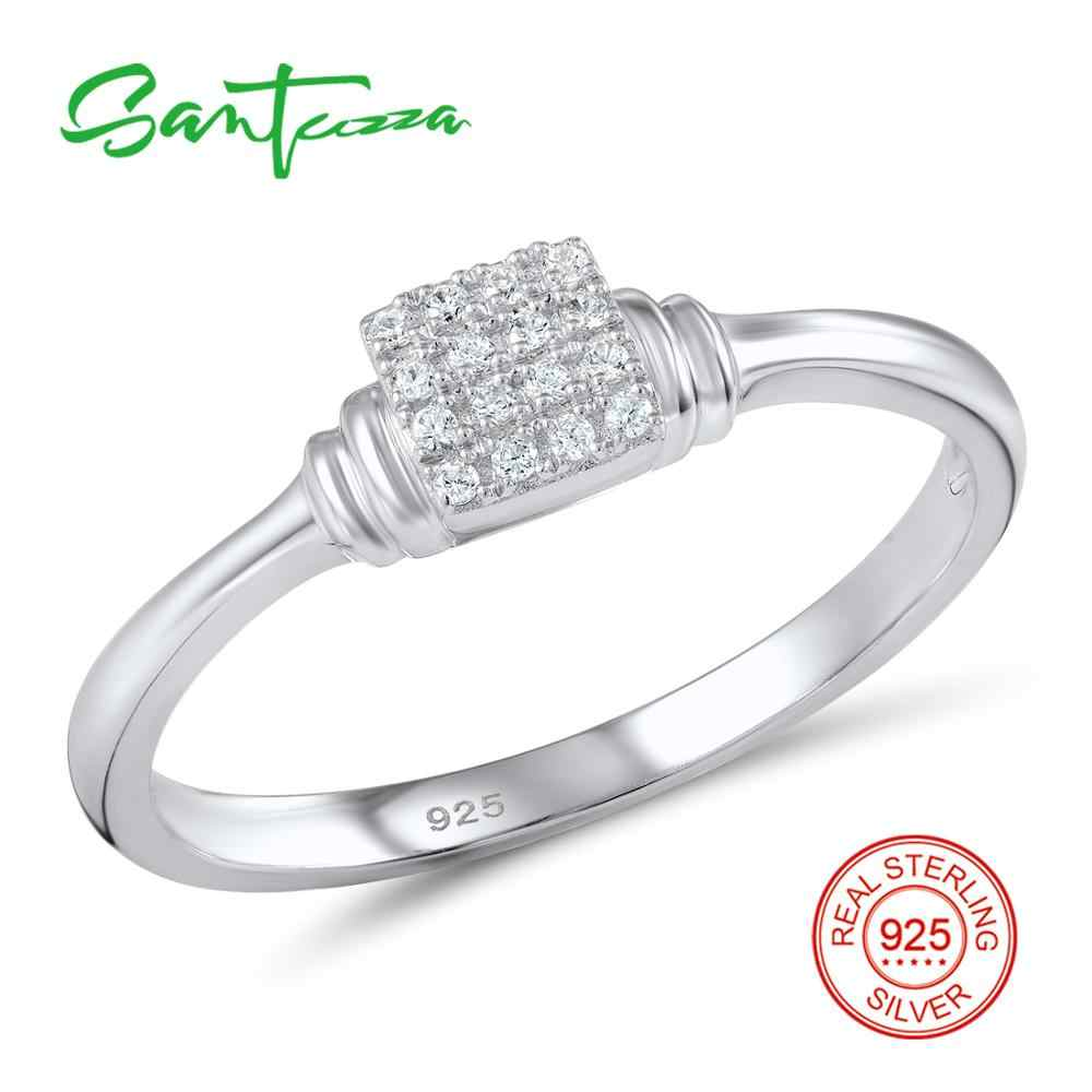 SANTUZZA แหวนเงินผู้หญิง 925 เงินสเตอร์ลิงงานแต่งงานขนาดเล็กสำหรับสุภาพสตรี Cubic Zirconia แหวนแฟชั่นเครื่องประดับ