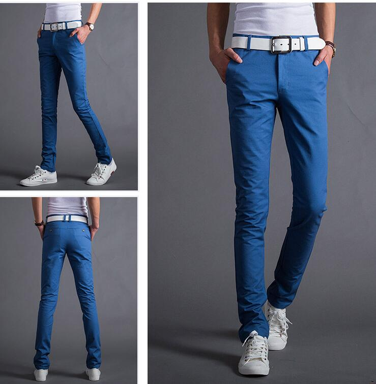 2018 new spring and summer candy color men's casual pants solid color slim feet pants large size