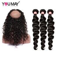 Перуанский волосы Vigin 3 шт. человеческих волос пучки с закрытием 360 Кружева Фронтальная с Связки свободная волна волос вы может