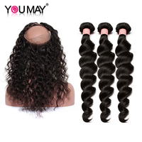 Peruvian Vigin Hair 3 Pcs Human Hair Bundles With Closure 360 Lace Frontal With Bundles Loose Wave Hair Extensions You May