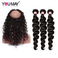 Peruvian Vigin Hair 3 Pcs Human Hair Bundles With Closure 360 Lace Frontal With Bundles Loose Wave Hair Extensions You May