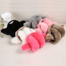 Lovely Girl Rabbit Ear Faux Fur Earmuffs Winter Anti-cracking Keep Warm Earmuffs Cute Rabbit Ear Hairy Ears Cover Adjustable