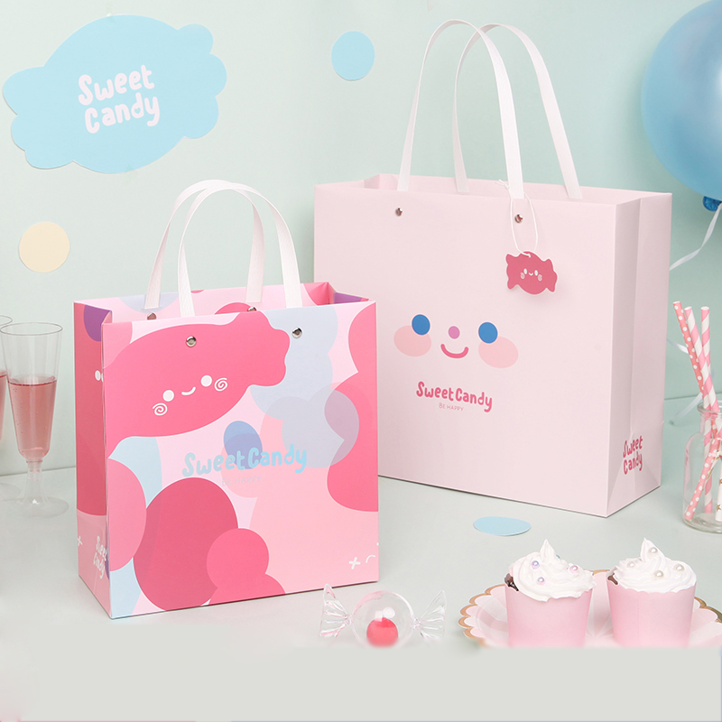 1pc pink cartoon sweet candy style Children's Day Reticule Simplified paper gift bag Creative shopping bag Holiday supplies