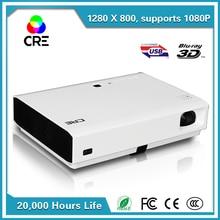 Proyector Full HD de cine en casa 1280*800 Del Obturador Activo 3D Digital DLP LED Mini Proyector Del DLP wifi 3LED Proyector portátil